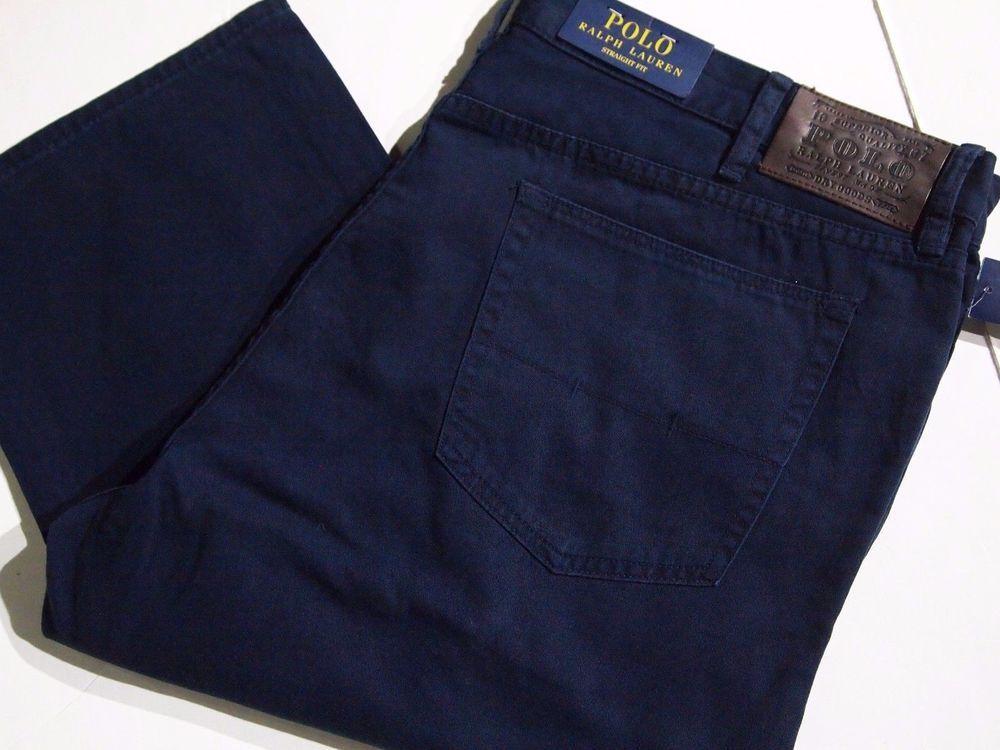 Polo Ralph Lauren Men's Straight 5 Pocket Preppy Chino Pants Aviator Navy  42x32