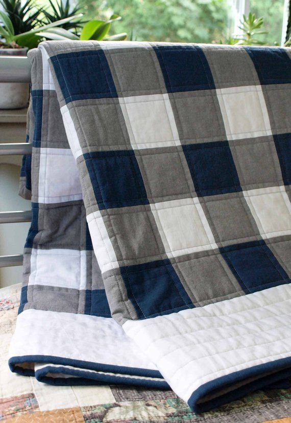 Plaid Baby Quilt: Buffalo Check, Plaid Organic Quilt; Navy, Gray, White