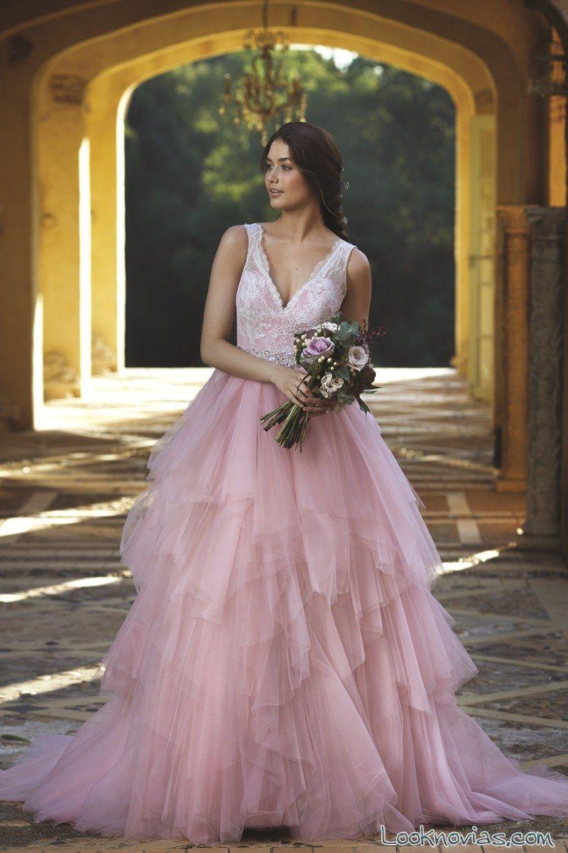 Resultado de imagen para vestidos de novia rosado | Novia y novio ...