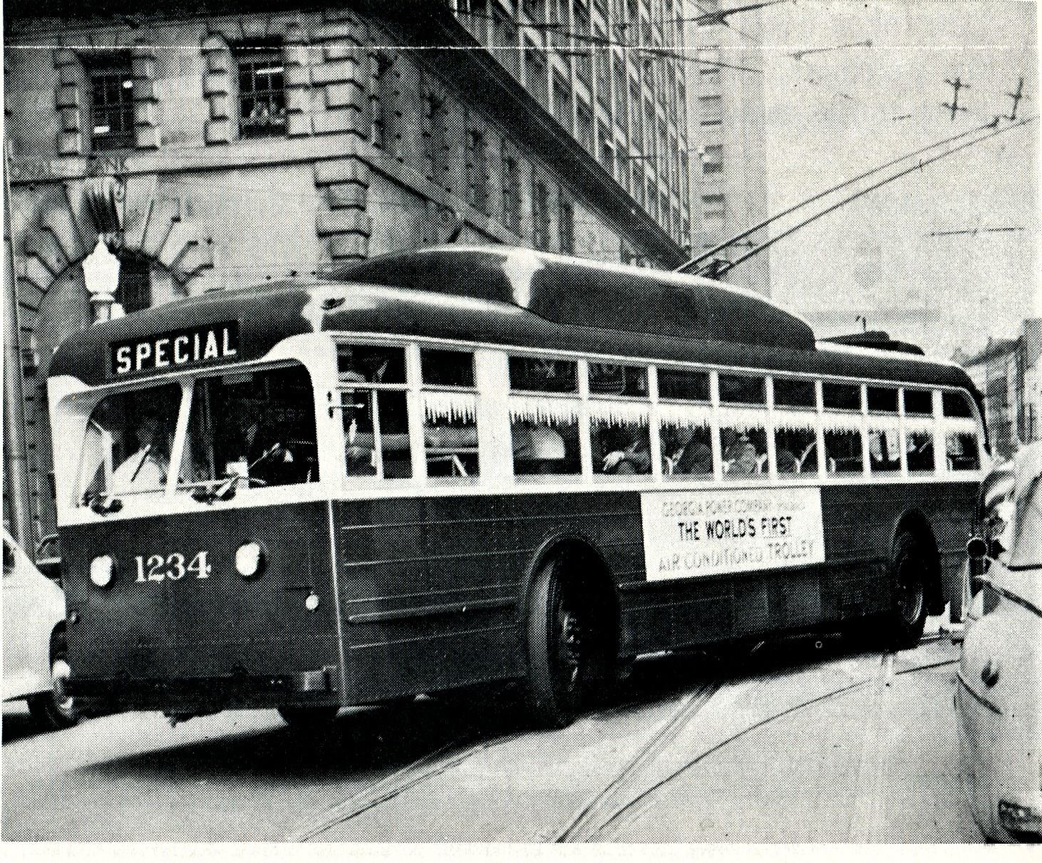 Georgia Power Company S 1234 Was The First Air Conditioned Trolley Coach In 1944 Gpc Put This Pullman Coach On The Streets To The Bus Terminal Bus Stop Fleet