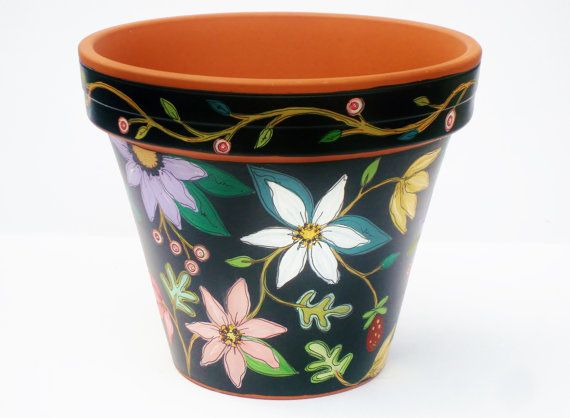 Hand Painted Flower Pot Planter 8 Inch by ThePaintedPine on Etsy