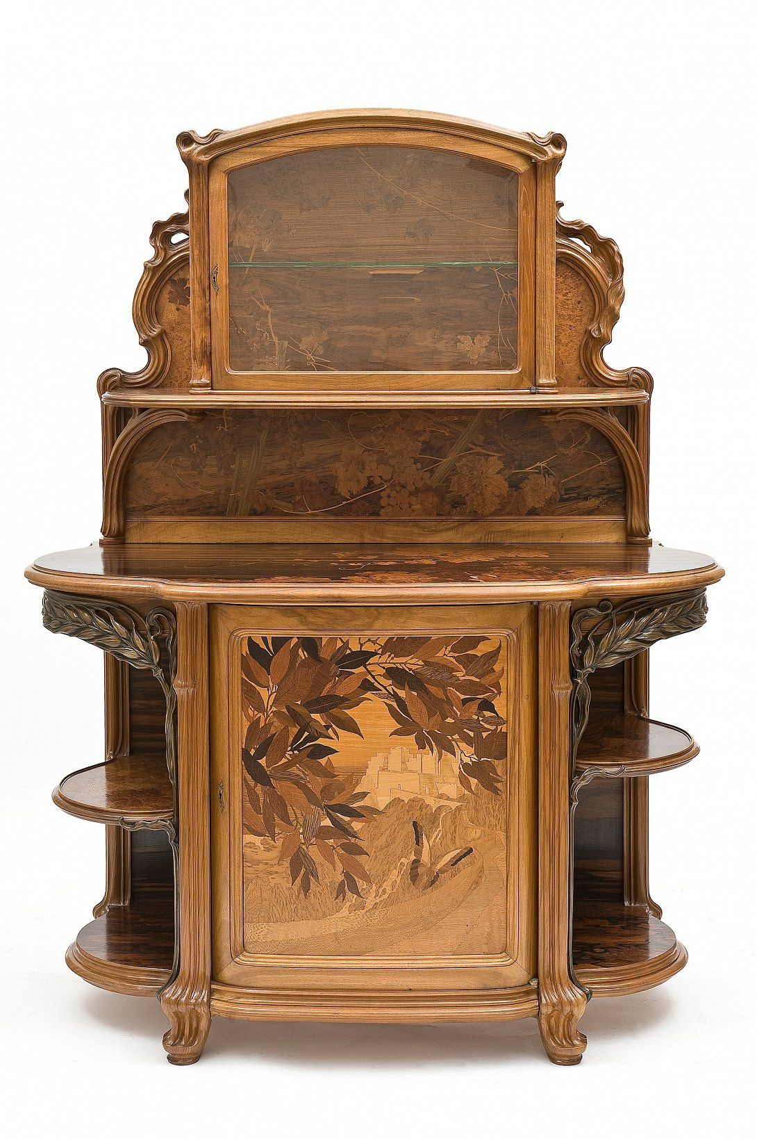 art nouveau harvest walnut buffet with molded carved inlaid polychrome wood ormolu. Black Bedroom Furniture Sets. Home Design Ideas