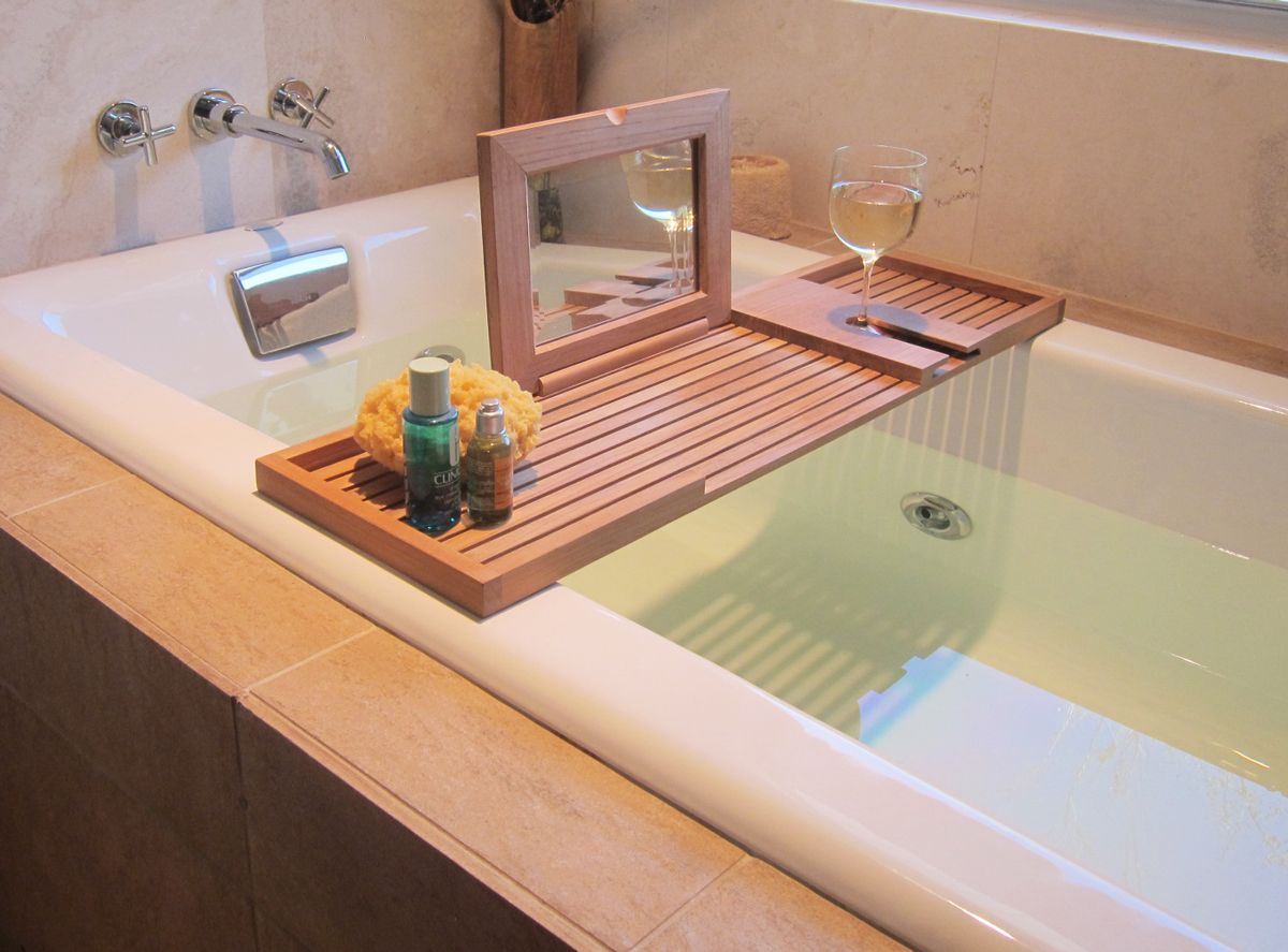 Teak Bathtub Tray & Bathtub Caddy | Bathtub tray, Teak outdoor ...