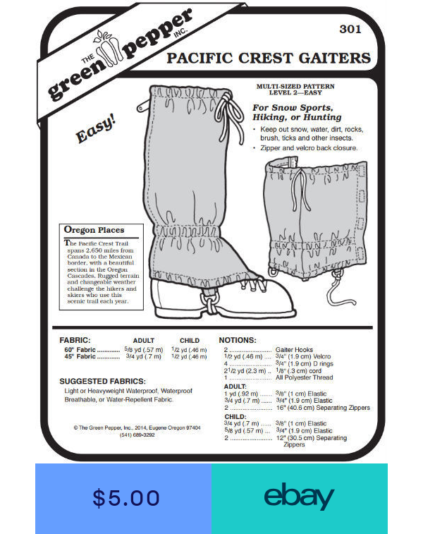 Pacific Crest Gaiters Leg Protection #301 Sewing Pattern Pattern Only gp301