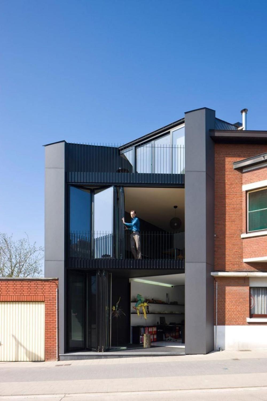 Narrow house design black color ideas modern office design for Office design exterior