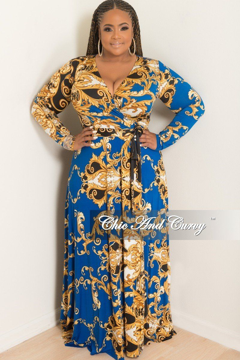 4c0010895a9 Plus Size Long Wrap Dress with Attached Tie in Royal Blue – Chic And Curvy