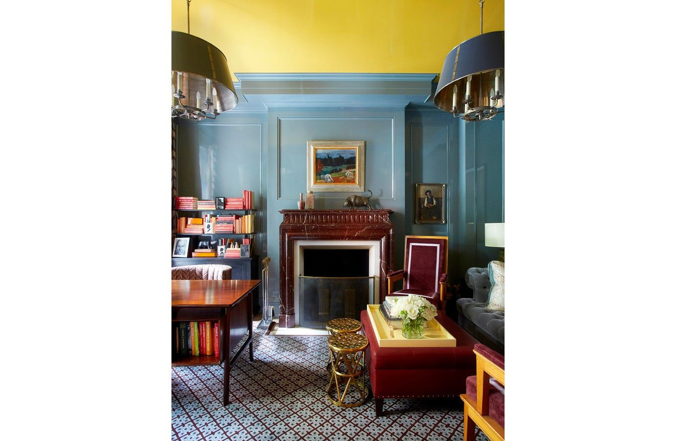 S.R. Gambrel | Lacquered walls, Yellow ceiling, Room colors