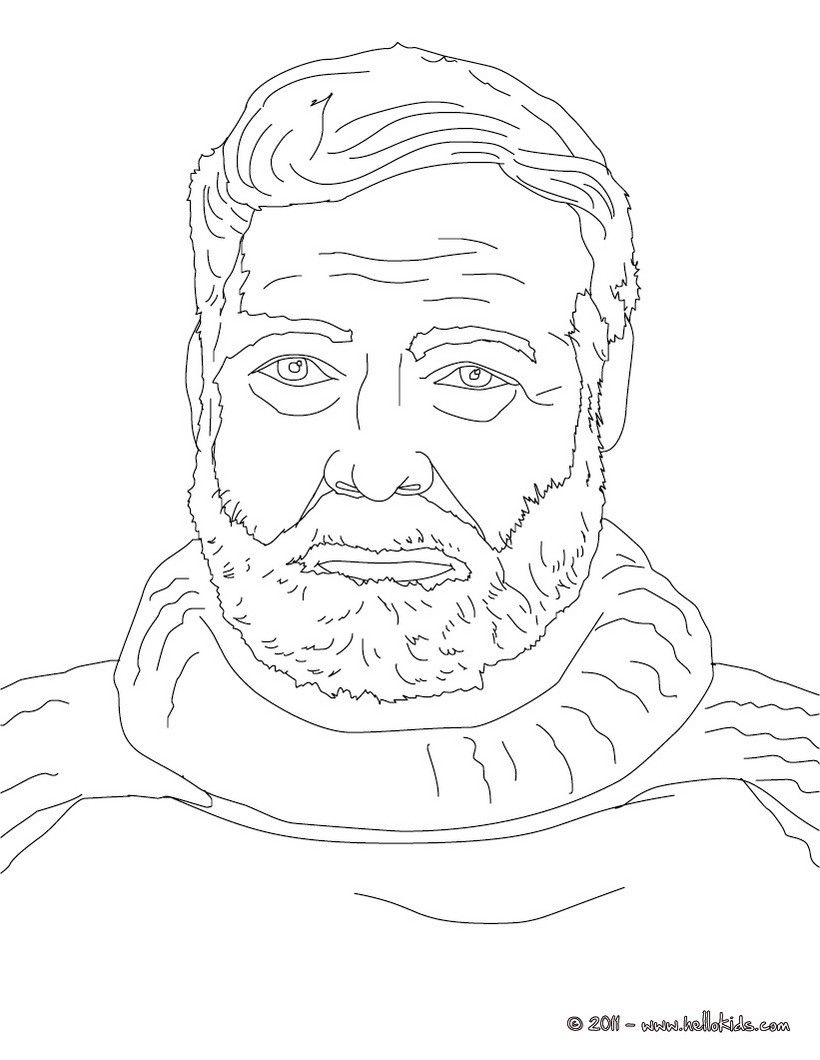 ERNEST HEMINGWAY coloring page | History coloring sheets | Pinterest