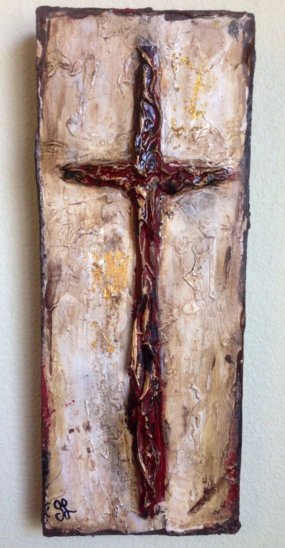 Handmade Original Textured Cross Wood Rustic Painted