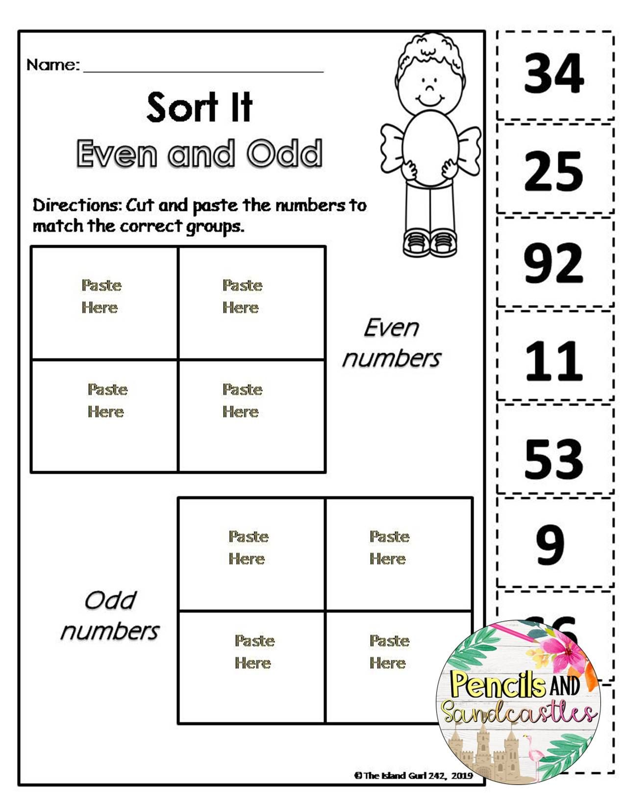 Even And Odd Numbers Print And Go Worksheets