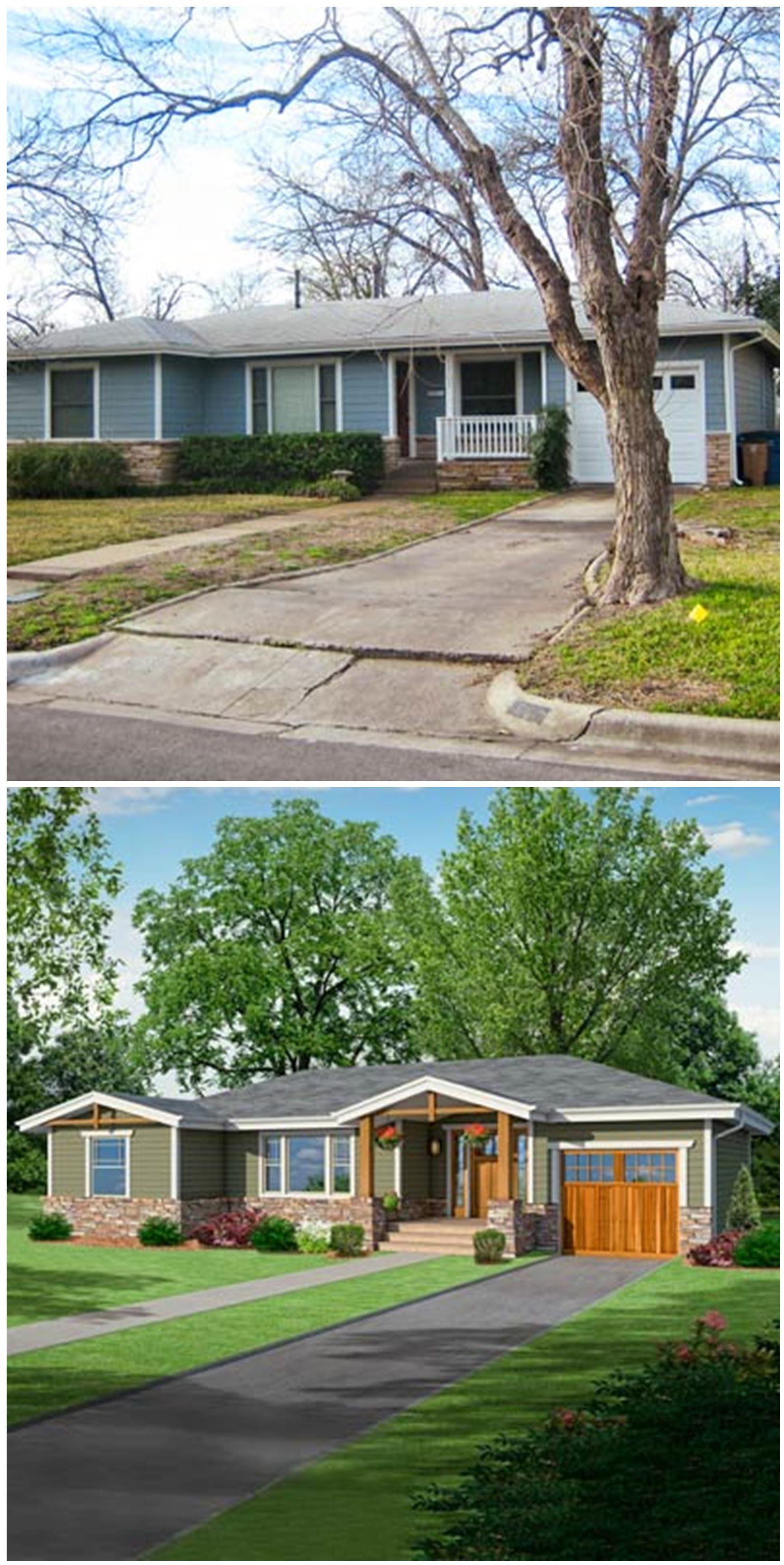 Photoshop redo craftsman makeover for a no frills ranch for 70s house exterior makeover
