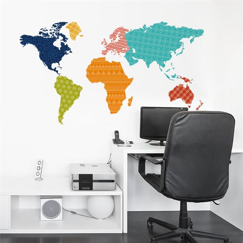 Colorful world map pvc decal art mural home decor wall stickers colorful world map pvc decal art mural home decor wall stickers world trip map wall sticker gumiabroncs Choice Image