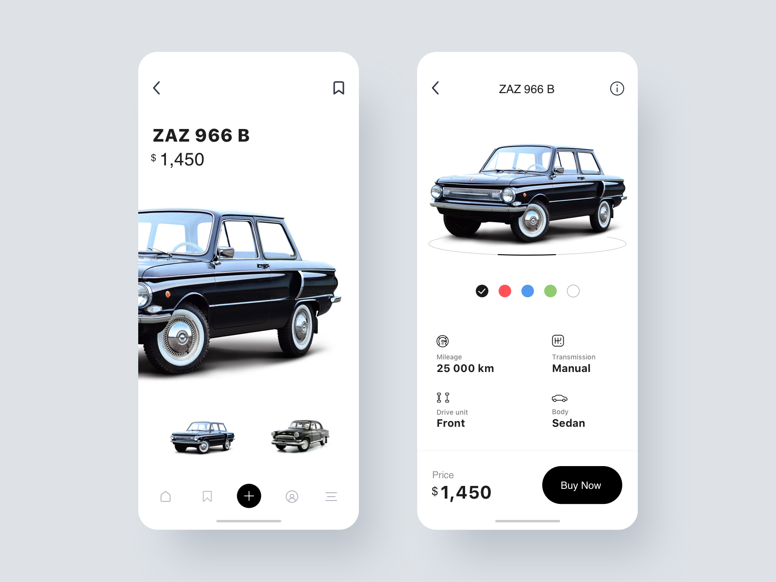 Buying and selling cars mobile version Mobile app design