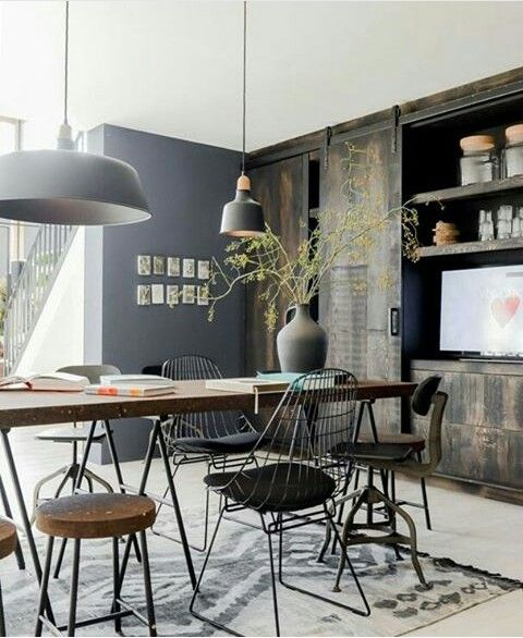 Vintage Industrial Style What S Hot On Pinterest This Week Dining Room Industrial Kitchen Decor Modern Interior