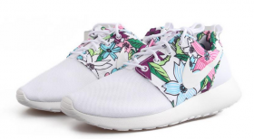 Nike Roshe Run Womens Mens Shoes Floral All White