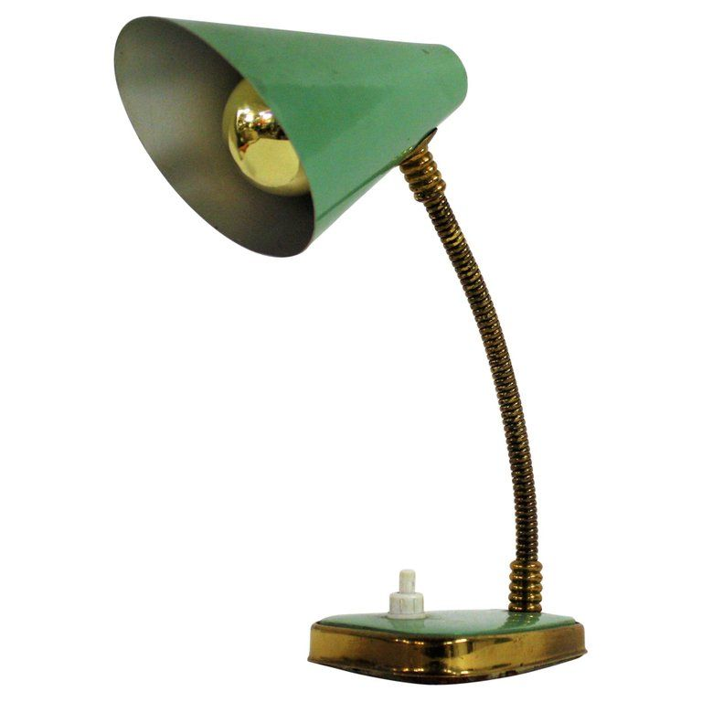 Small Green Vintage Desk Lamp Made In Italy 1950s In 2020 Desk