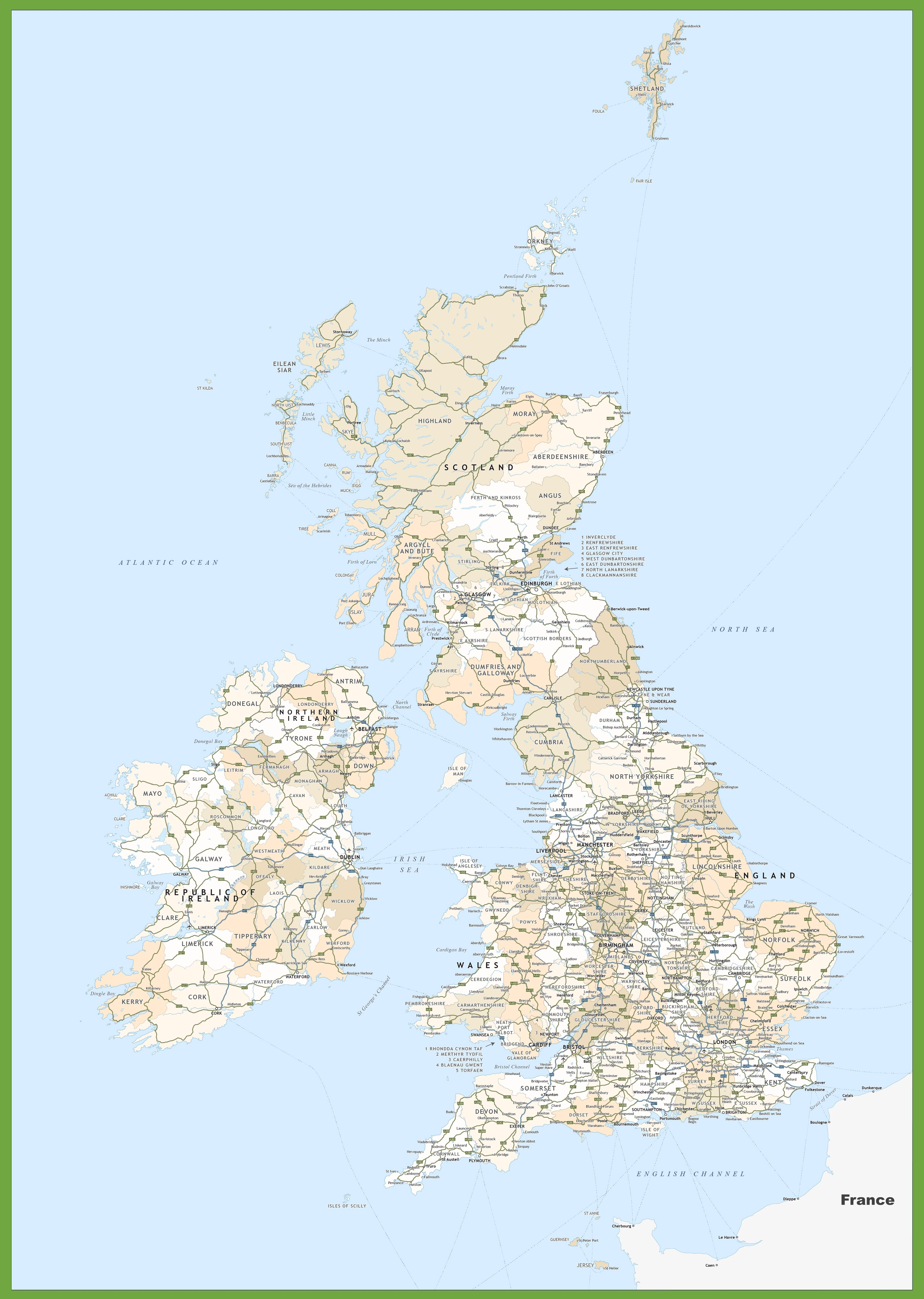 Road Map Of Uk And Ireland