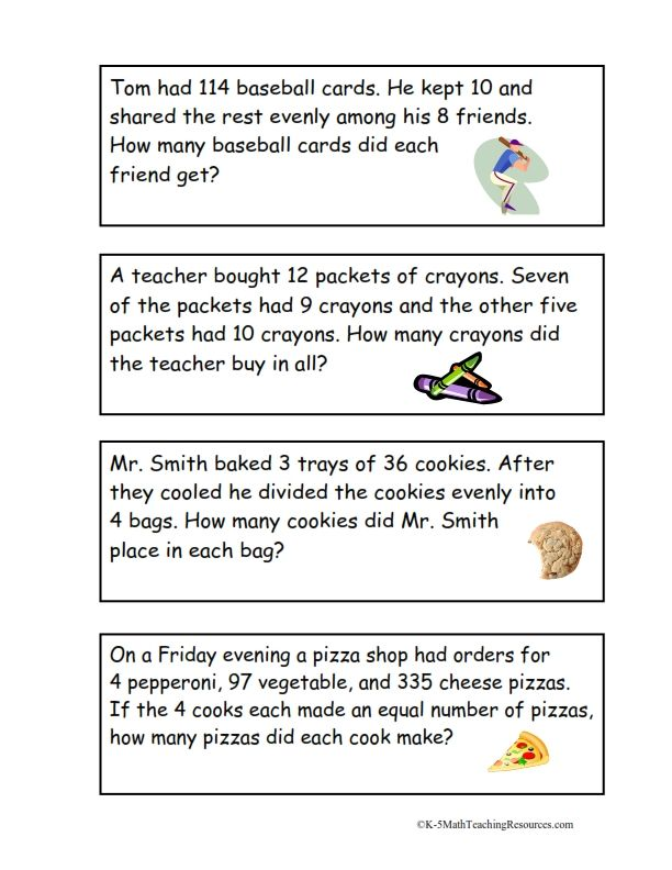 4th Grade Number Activities – Multi Step Equation Word Problems Worksheet