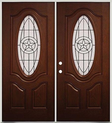 Pre-finished Mahogany Fiberglass Double Doors Texas Star