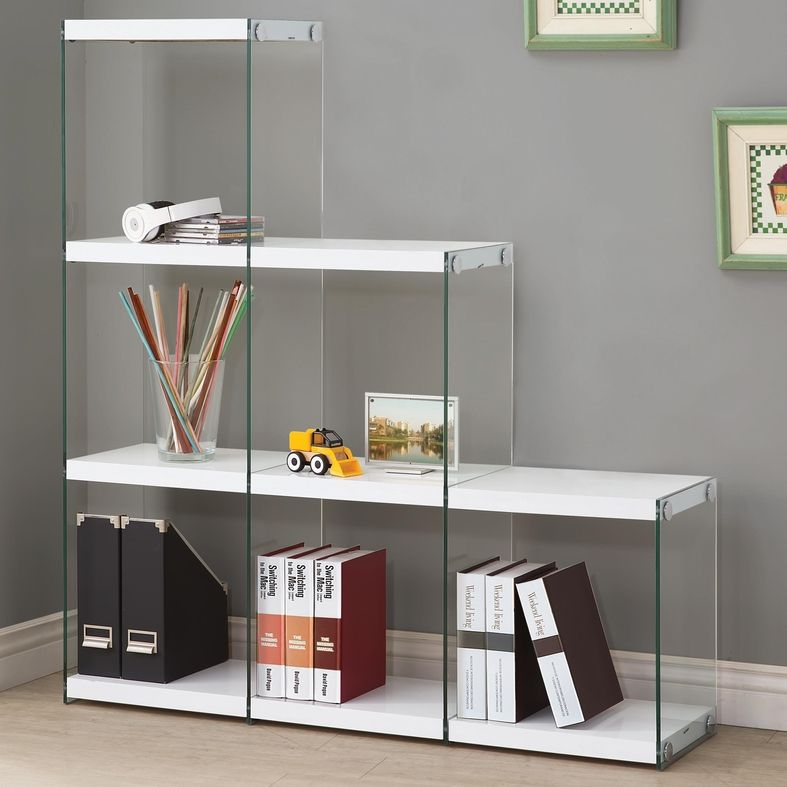 White Glass Bookcase Steal A Sofa Furniture Outlet Los Angeles