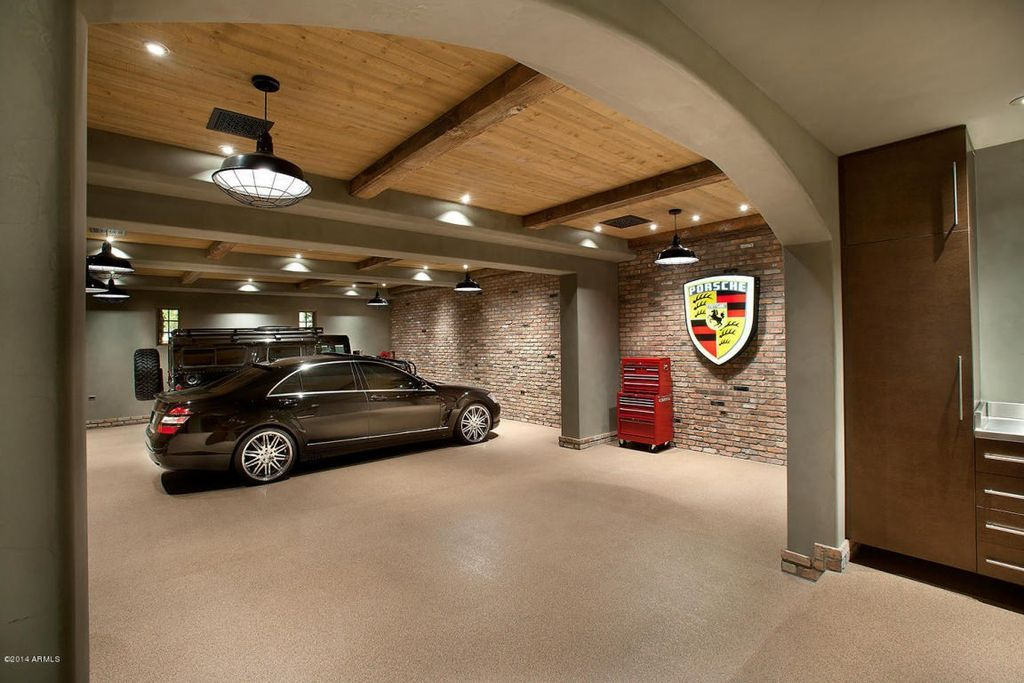 Contemporary Garage With Interior Brick Concrete Floors High