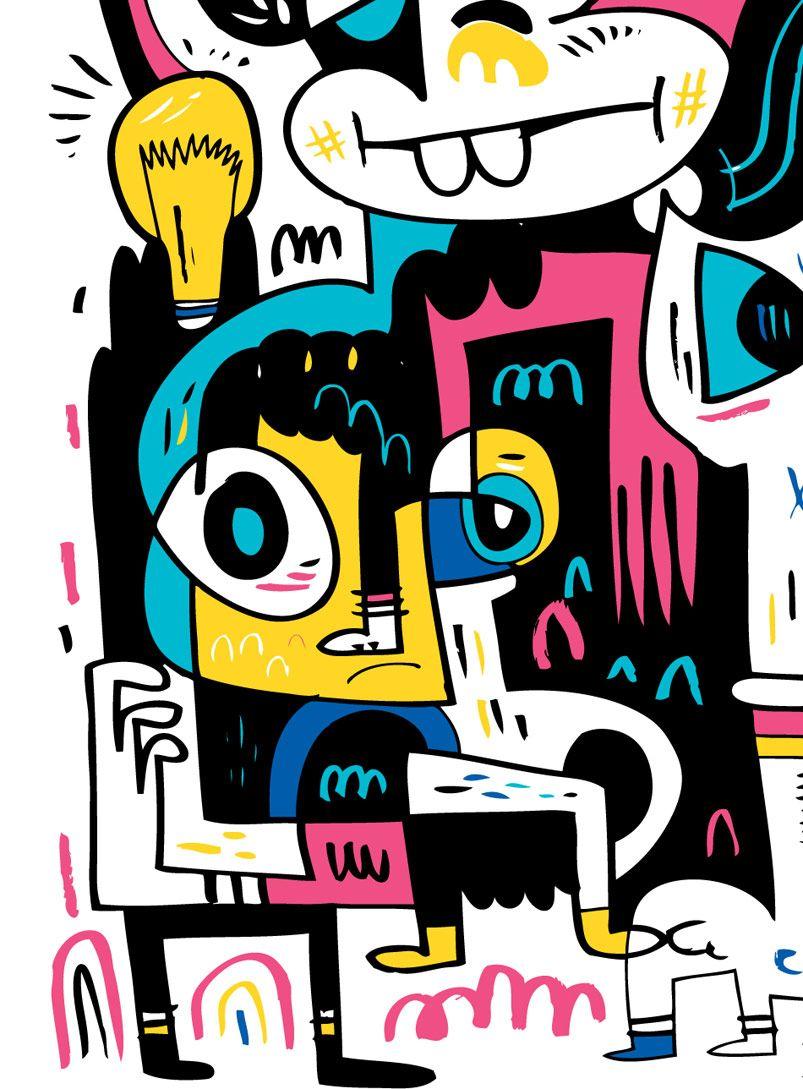 """Jon Burgerman """"City Girl"""" JonBurgerman Detail(이미지 포함)"""