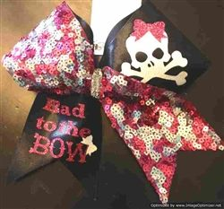 9208a554cf Bad to the Bow Skull and Crossbones Pink and Silver Reversible Sequins and  Black Mystique Cheer Bow  13