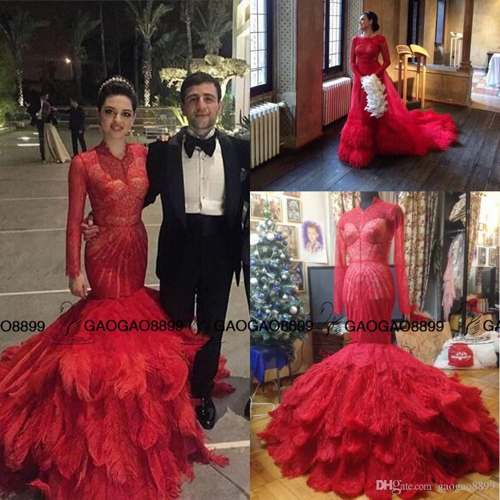 modest red lace feather mermaid arabic prom dresses with long