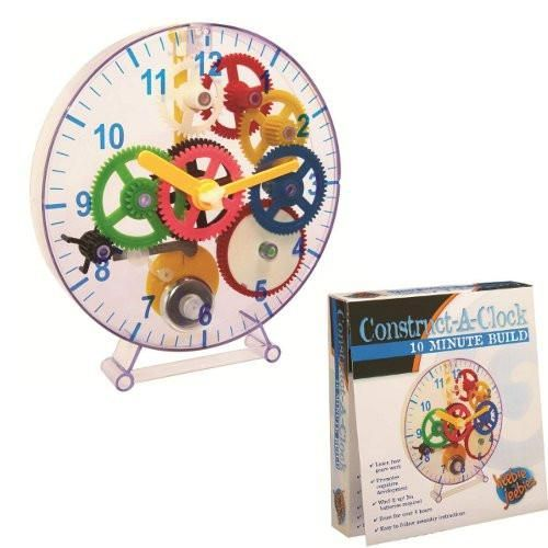 An easy to build clock will fascinate young minds with its turning cogs and swinging pendulum.  The clock is spring-driven, so requires no batteries,#toys2learn#heebiejeebies#science#construction#clock#build#stem#learning#teaching#aids#kits#home#school#kids#children#australia#gift#