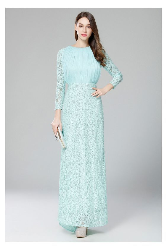 Mint Lace Long Sleeve Formal Dress Prom Dresses Collection