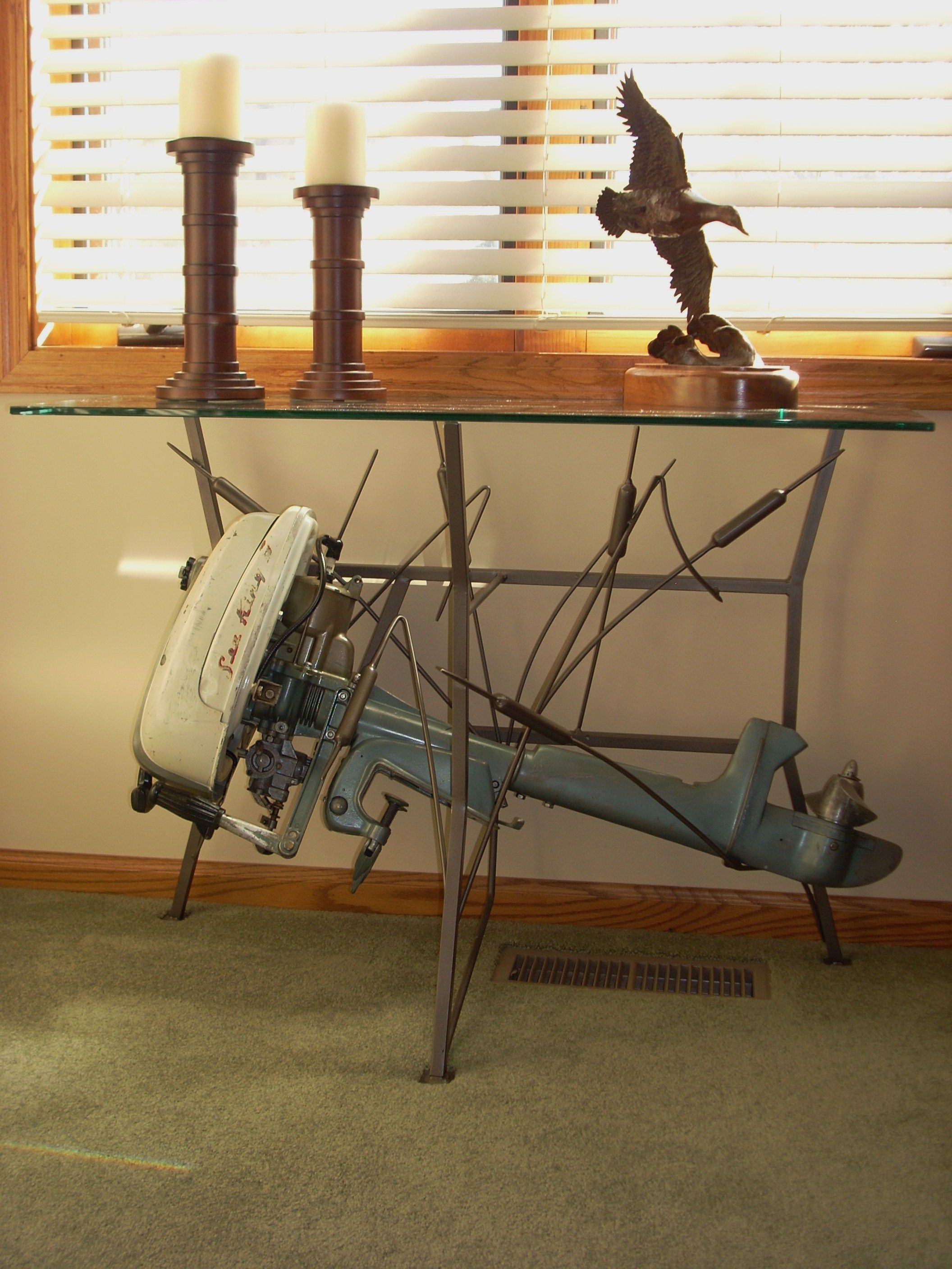 Outboard motor table with tempered glass top Sea King Vintage