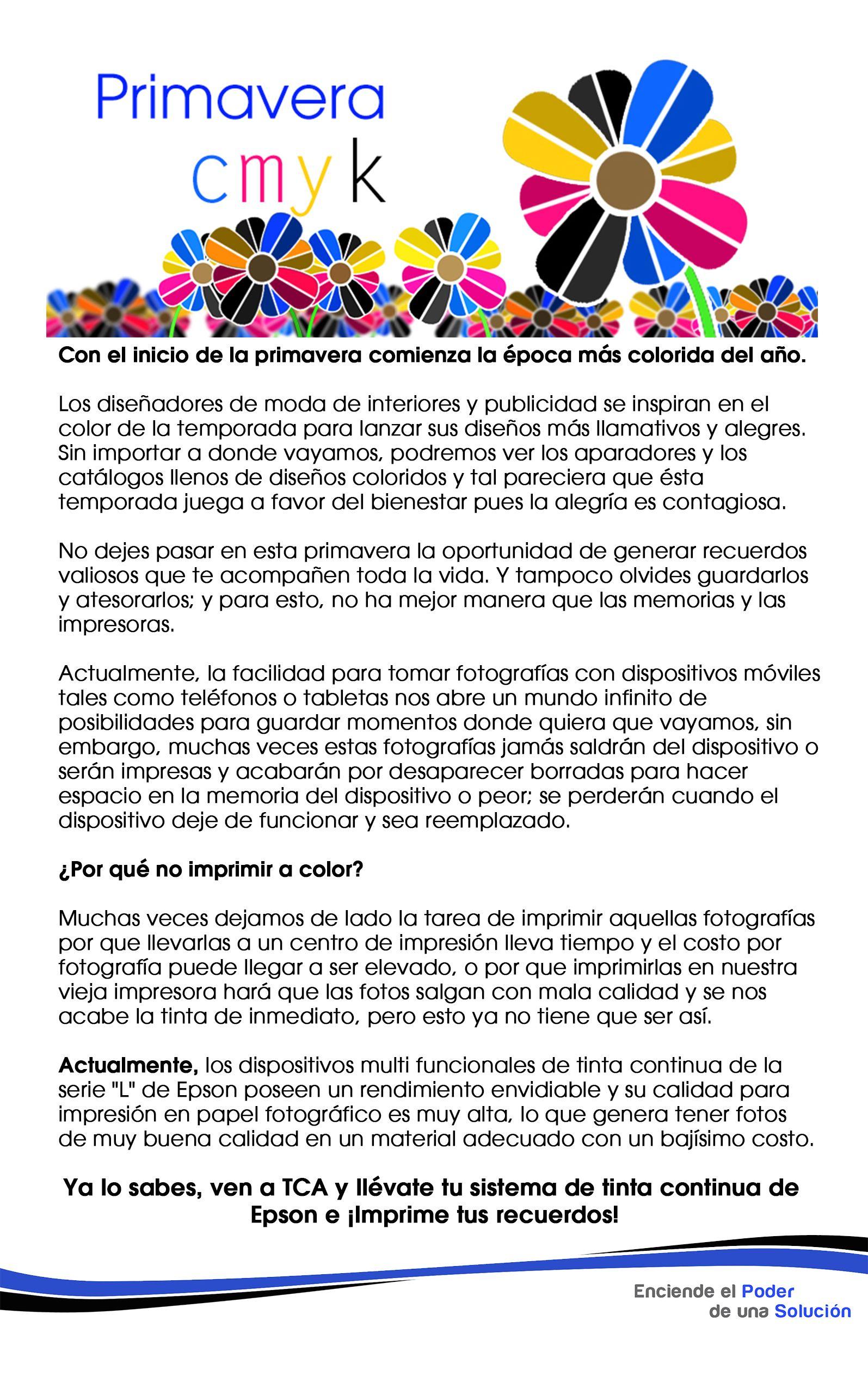 Primavera CMYK. Impresoras y fotografías
