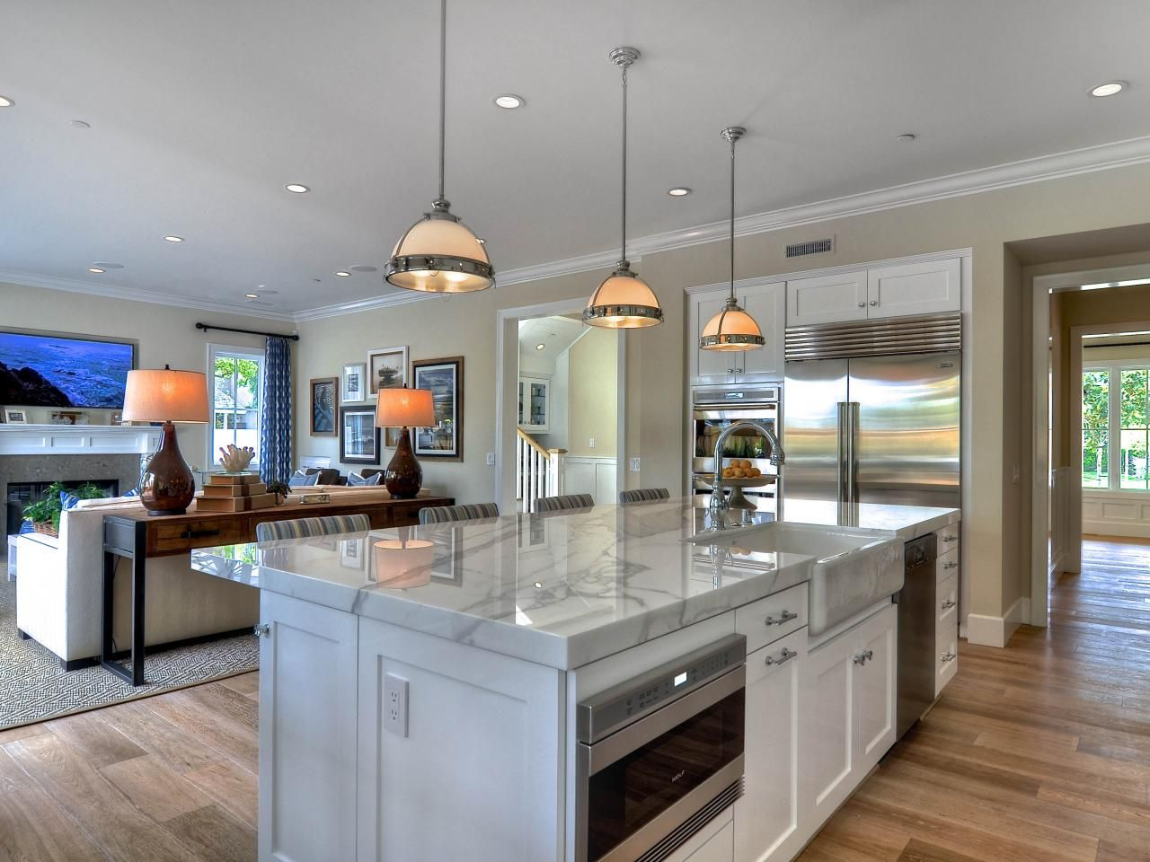 A Beautiful Aspect Of This Great Room Is The Bright White Kitchen Delectable Open Living Kitchen Design Inspiration Design