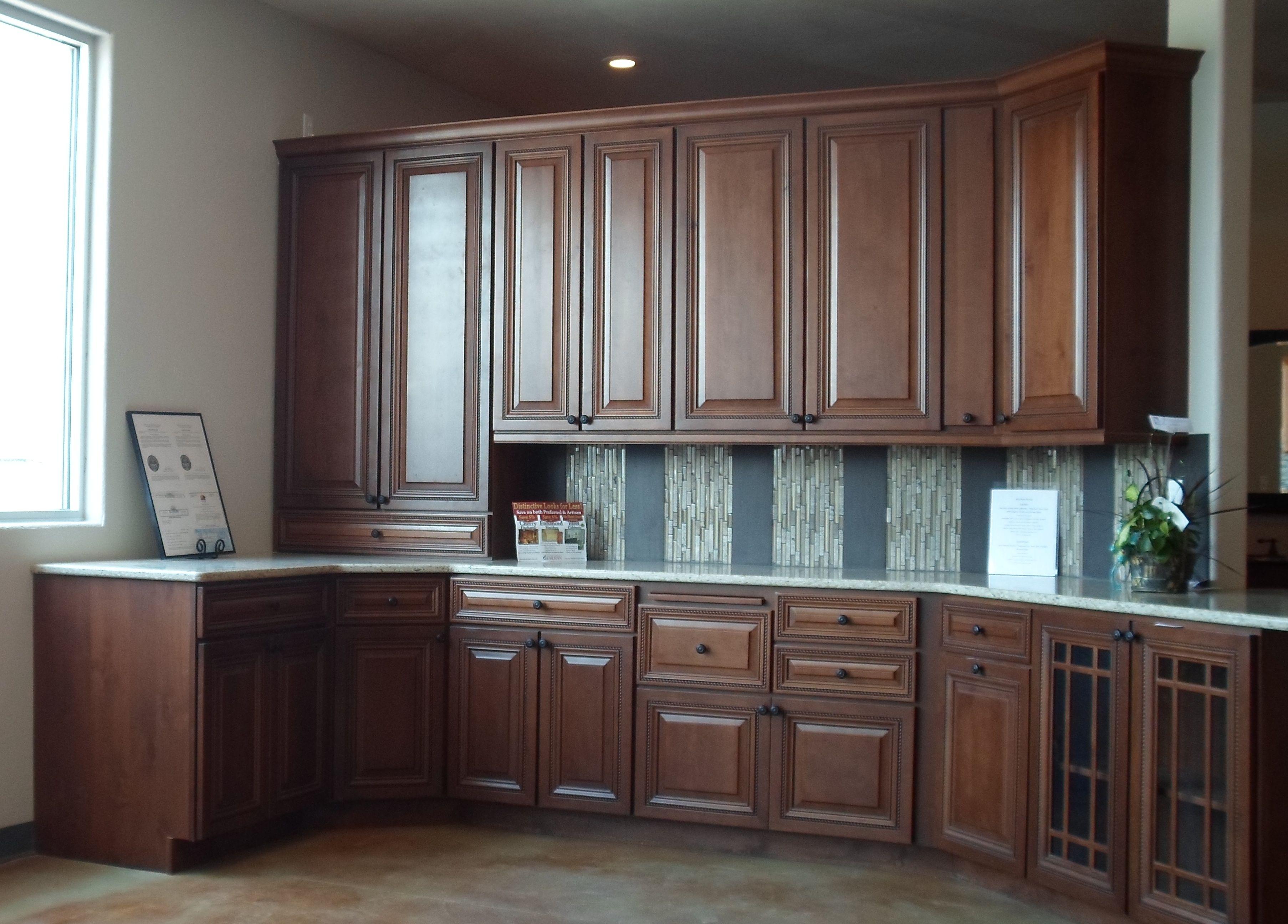 Karman Brand Alder Cabinets Stanton Door Style With Cognac Finish And Brown Glaze Kitchen Renovation Alder Cabinets Kitchen