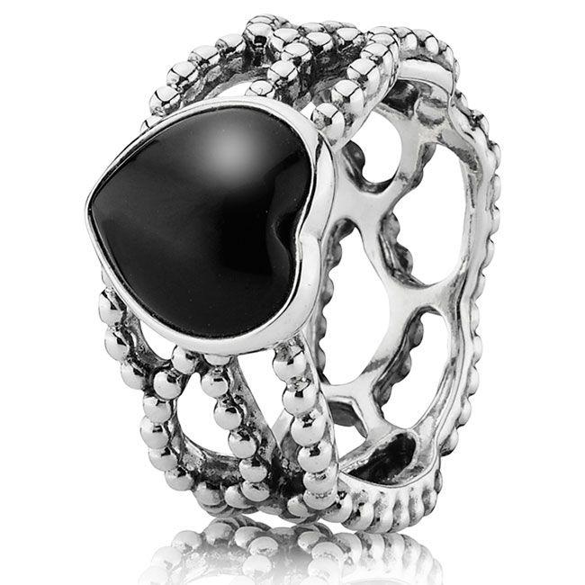 anello pandora cuore nero