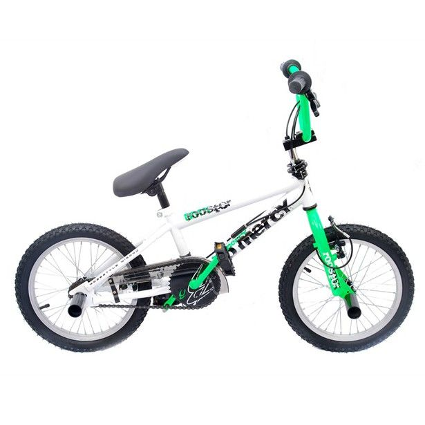 Freestyle Bmx Bike Rooster No Mercy 16 Wheel In White Neon Green Designed For The Younger Bike Rider Who Wants A Proper Bike Rider Bmx Bikes Bmx Freestyle
