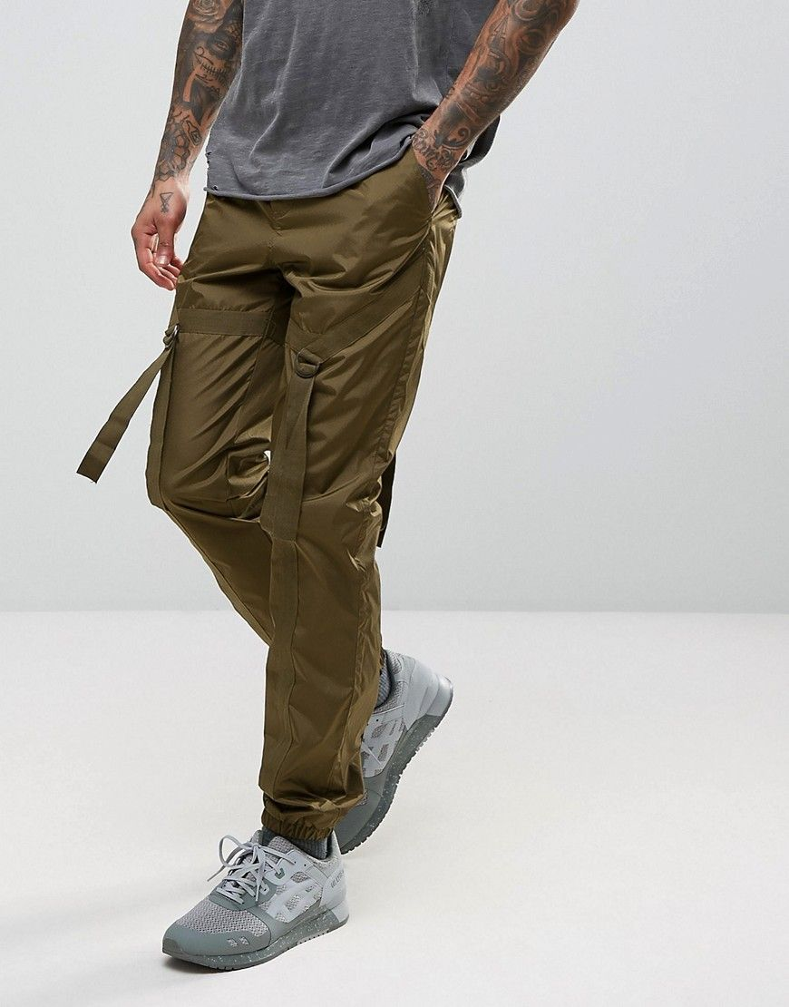 Slim Joggers With Check Detail In Khaki - Khaki Asos Limited Edition Online Clearance Authentic Supply GOpv1lZoS
