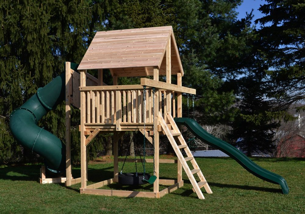 Bailey Space Saver Deluxe Cedar Swing Set For Small Yards With Green