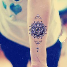 Mandala Temporary Tattoo Ethnic Art Mandala Art Large Temporary Tattoo Tattoo Temporary Buddhism Black Geometric Temporary Tattoo Art
