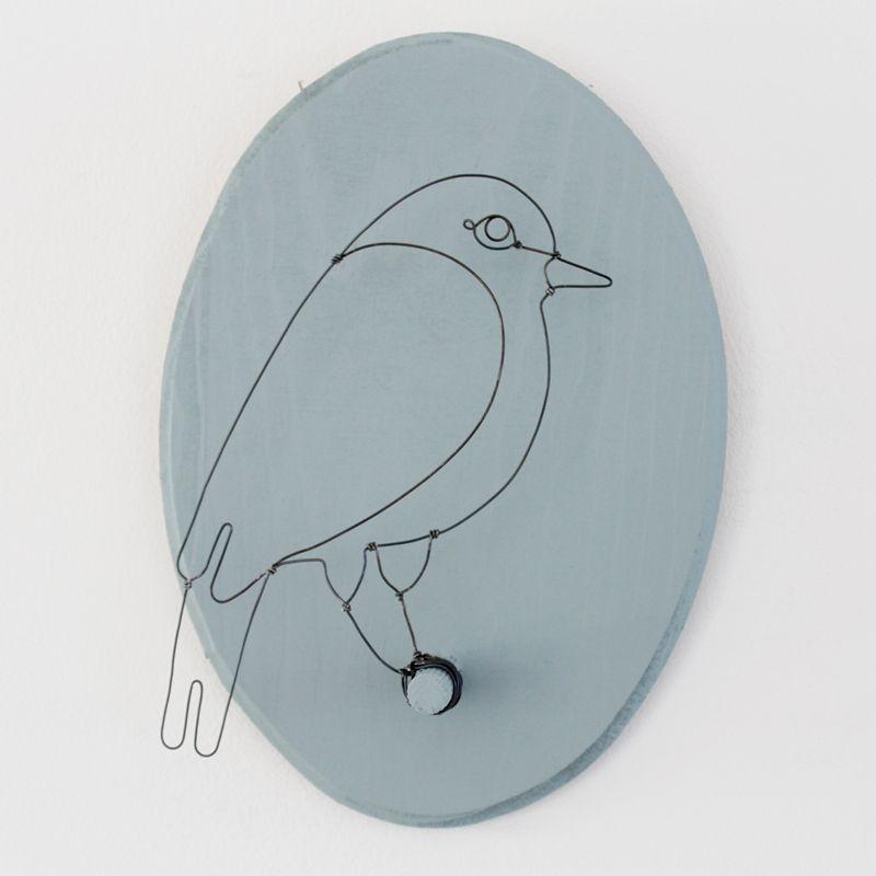 Oiseau sur son support mural Faune en fil