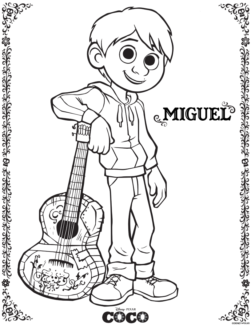 Free Disney Pixar Coco Miguel Coloring Page Disney Coloring Pages Coloring Pages Free Coloring Pages