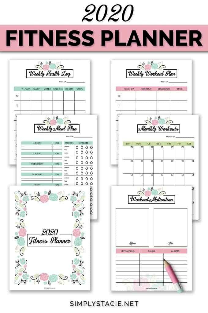 #printable #includes #organize #planner #workout #monthly #fitness #weekly #health #goals #2020 #mea...