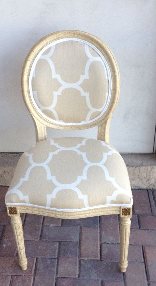 Louis XVI Side Chair. Windsor Smith Riad Dune Fabric.Beige.White Chair.