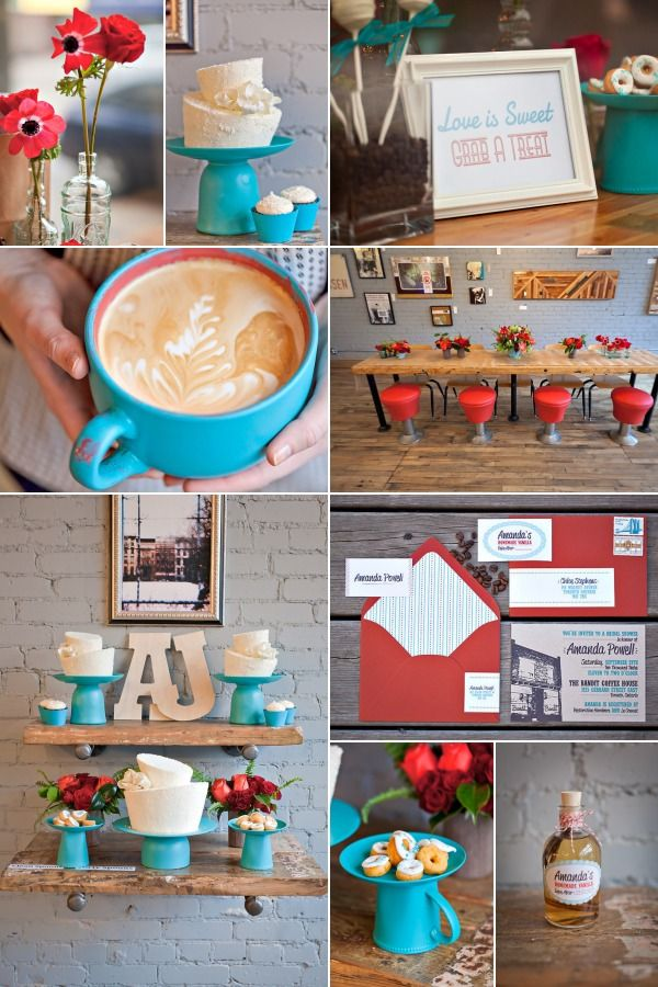 bridal shower coffee shop theme red turquoise