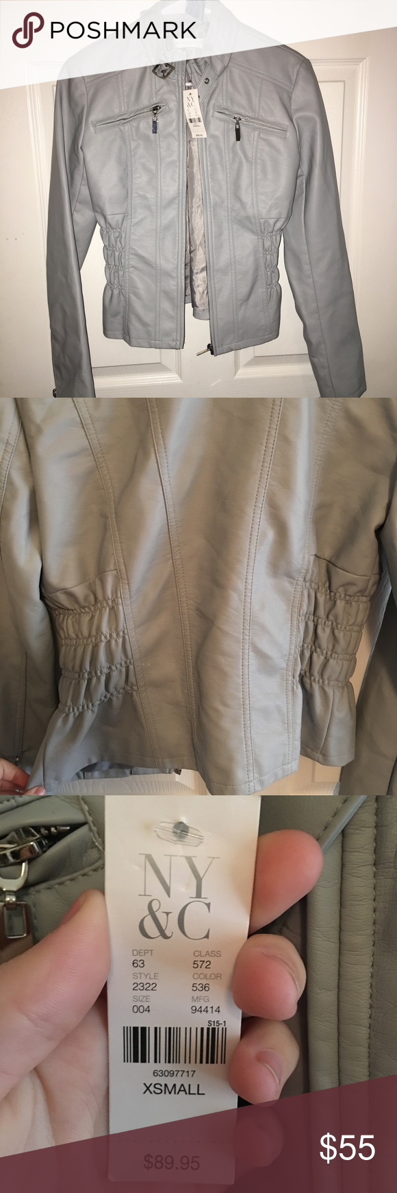 Ny&c leather jacket. Between baby blue and gray. Never worn, perfect condition. Kind of a cool stony color between gray and blue. Photos are pretty true to color. Ruched sides make this ultra slim fit. Buckle closure on neck looks bad ass. Zippered front closure, sleeves and breast pockets. All man made material. New York & Company Jackets & Coats