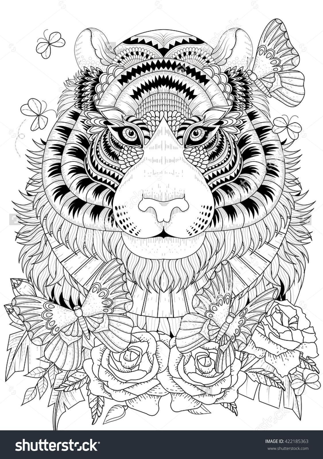 Imposing Tiger With Floral Element - Adult Coloring Page ...