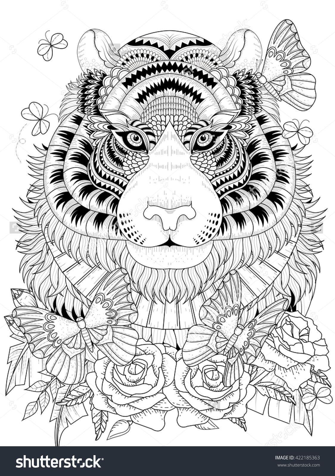 Imposing Tiger With Floral Element Adult Coloring Page Ilustracion Vectorial Mandalas Para Imprimir Pdf Libros Para Colorear Ilustraciones