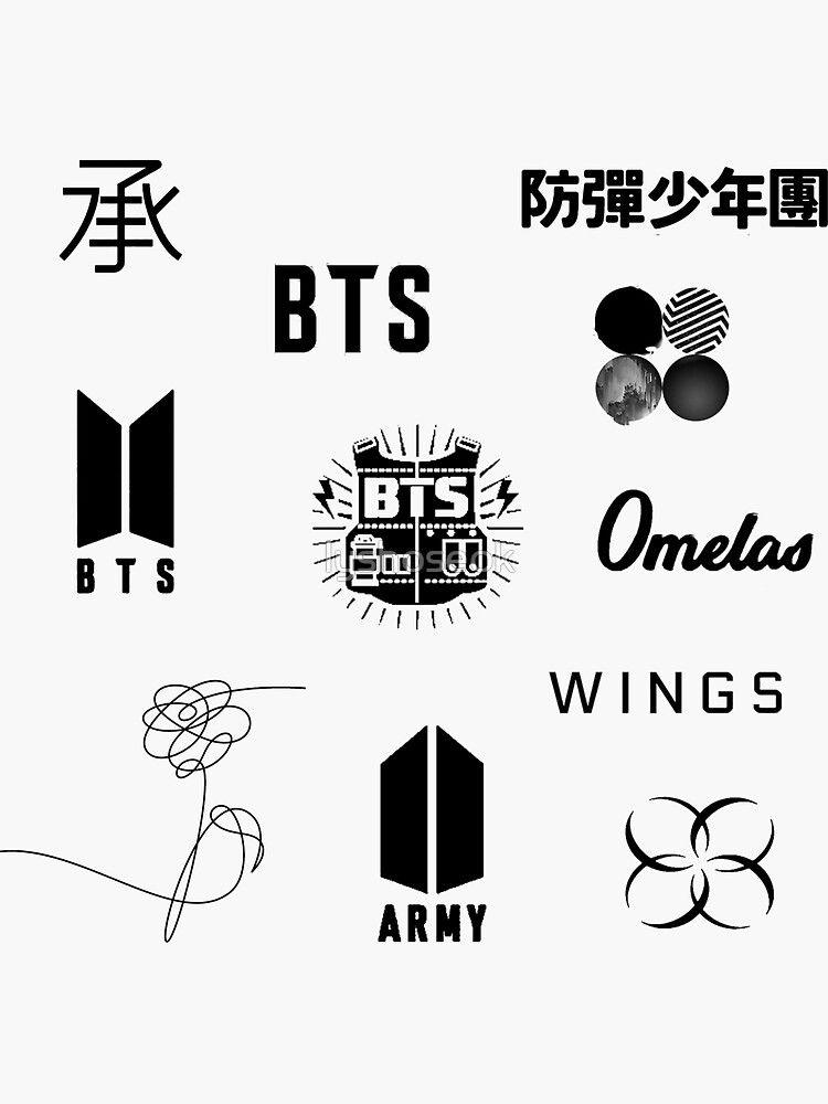 Pegatina Bts Logo Sticker Pack Actualizado De Lyshoseok En 2021 Tatuajes Coreanos Logo De Bts Bts