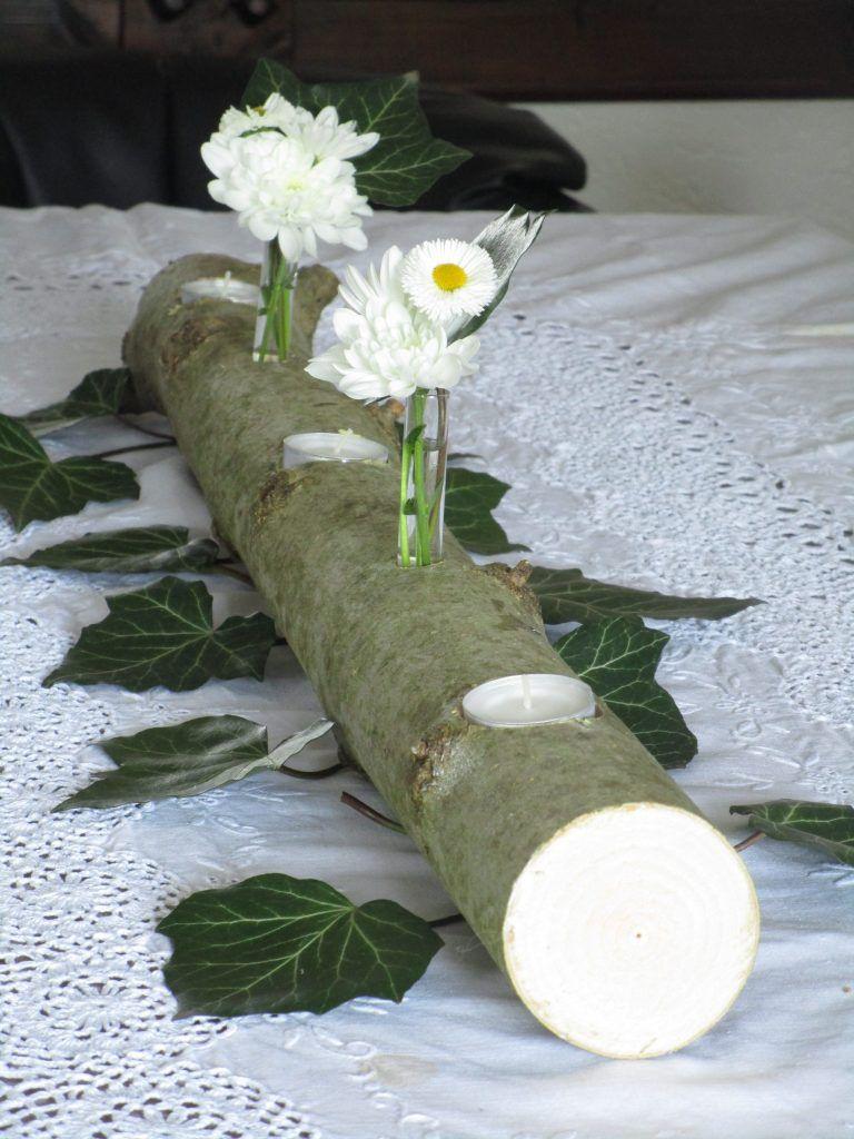 Photo of Natürliche Tischdeko: Baumstamm mit Teelichtern – Natürlich Deko