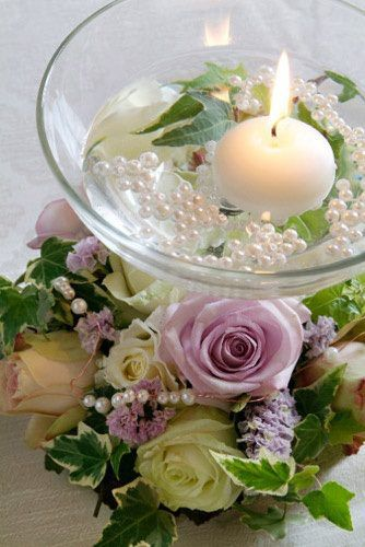 Wreath Florals With Floating Candle Bowl Maybe With Your Colors A